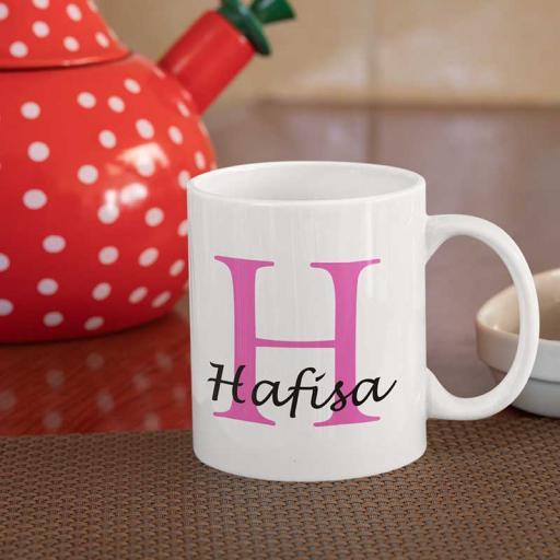 Personalised Name Mug For Her - Initial H & Name