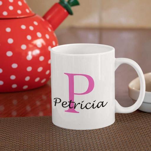 Personalised Name Mug For Her - Initial P & Name