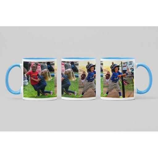 Personalised Sky Blue Coloured Inside Mug with Your Image and Text