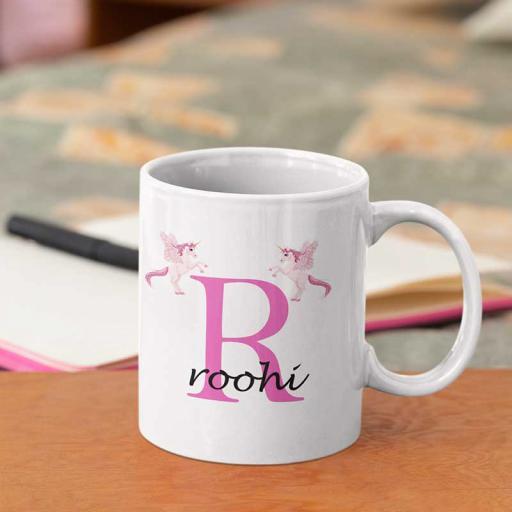 Personalised Unicorn Mug For Her- Initial R & Name