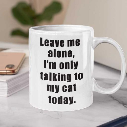 Personalised 'Leave Me Alone, I'm Only Talking to My Cat Today' Mug