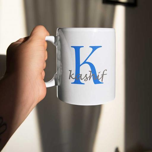 Personalised Name Mug For Him - Initial K & Name