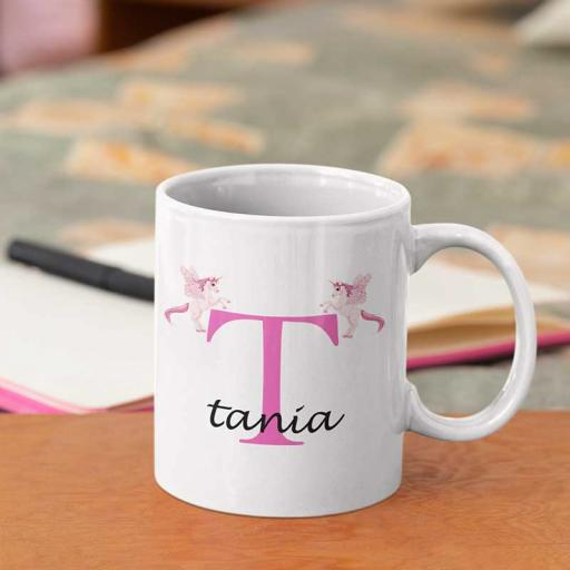 Personalised Unicorn Mug For Her- Initial T & Name