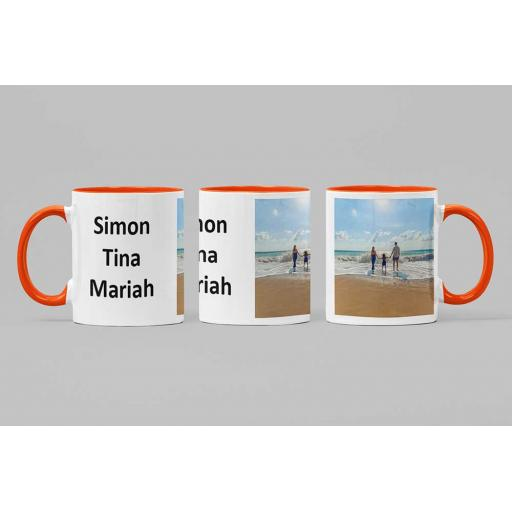 Personalised Orange Coloured Inside Mug with Your Image and Text