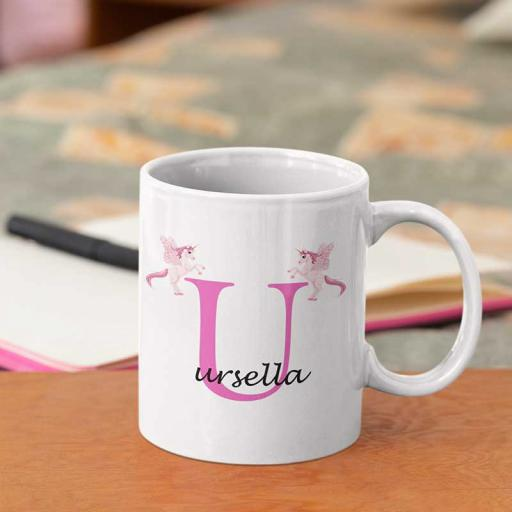 Personalised Unicorn Mug For Her- Initial U & Name