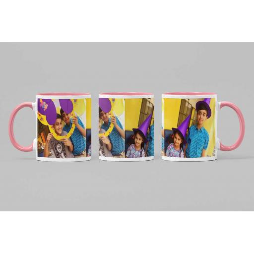 Personalised Pink Coloured Inside Mug with 2 Photo Collage and Text