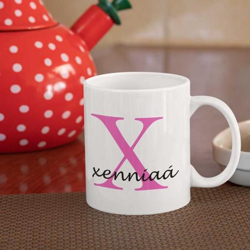Personalised Name Mug For Her - Initial X & Name