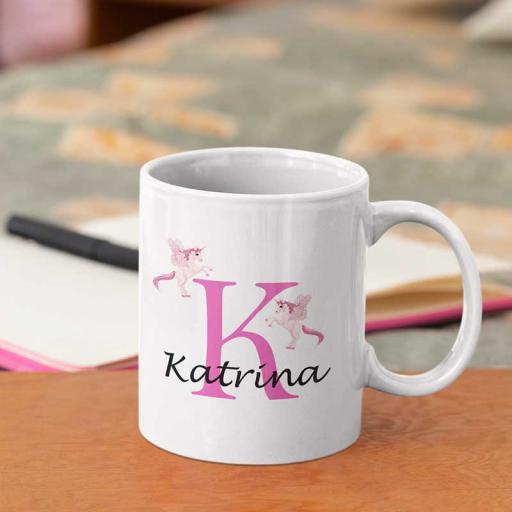 Personalised Unicorn Mug For Her- Initial K & Name