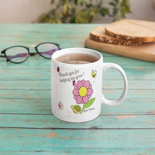 Personalised Teacher 'Thank you for Helping Me Grow' Mug - Add Name/Text