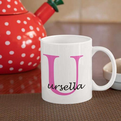 Personalised Name Mug For Her - Initial U & Name