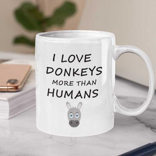 Personalised Funny 'I Love Donkeys More Than Humans' Funny Text Mug