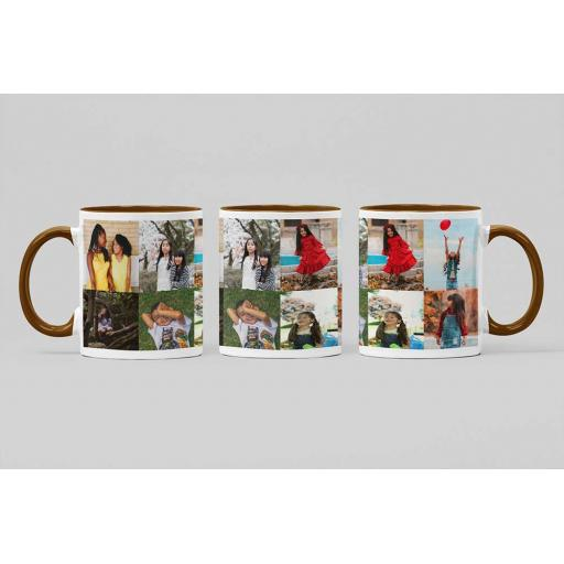 Personalised Brown Coloured Inside Mug with 8 Photo Collage