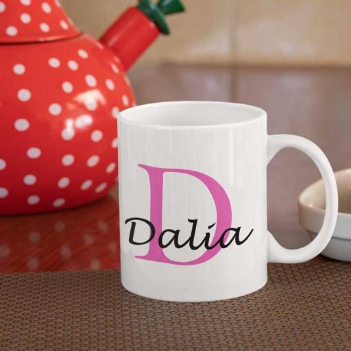 Personalised Name Mug For Her - Initial D & Name