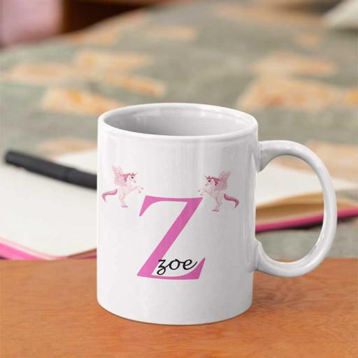 Personalised Unicorn Mug For Her- Initial Z & Name