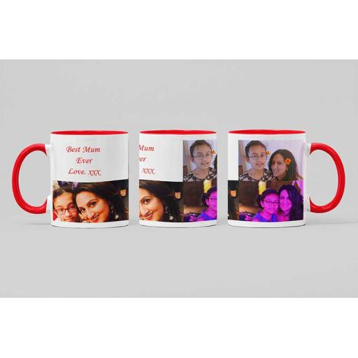 Personalised Red Coloured Inside Mug with 3 Photo Collage and Text