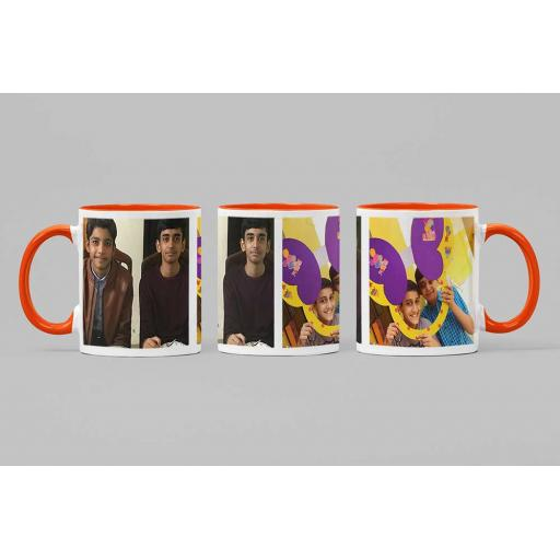 Personalised Orange Coloured Inside Mug with 2 Photo Collage and Text