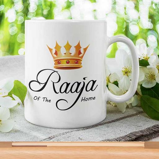 Personalised Desi Inspired 'Raaja/Rani of the House' Couple Mugs - Gift Set