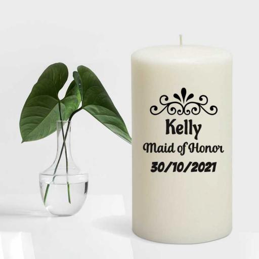 Bridal Candle Line - Personalised 'Maid of Honor' Candle