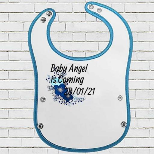 Blue Pocket Baby Bib with Blue Floral Design - Add Name
