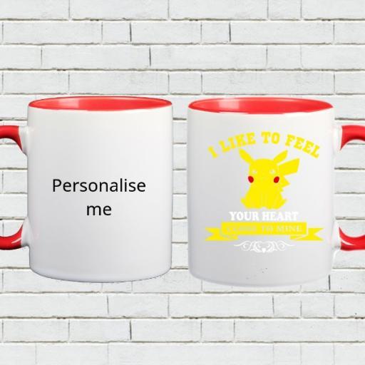 Personalised Colour Inside 'I Like to Feel Your Heart' Mug