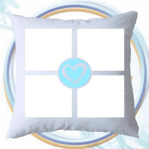 4 Photo Collage Cushion - Blue Heart