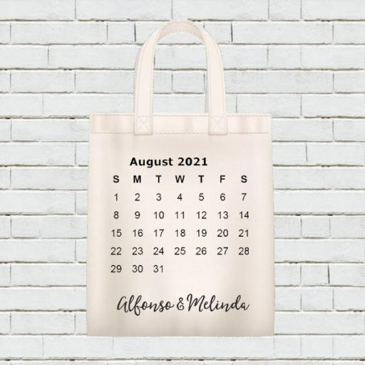Personalised Calendar Tote Bag - August 2021 - Add Name / Text
