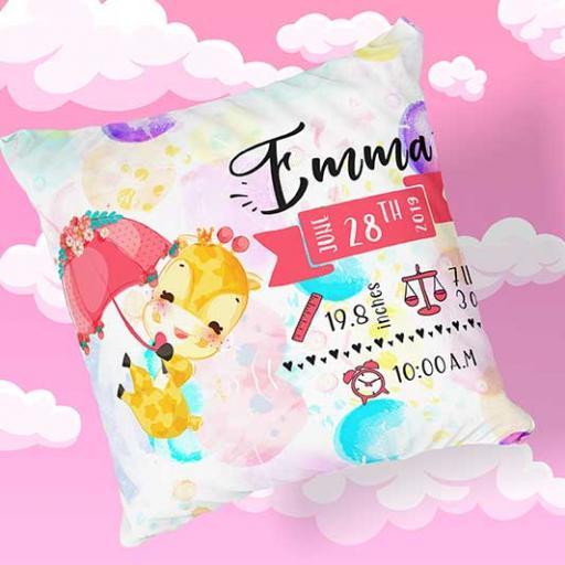 Personalised Newborn Giraffe Baby Cushion - Add Name, Date, Time, Weight