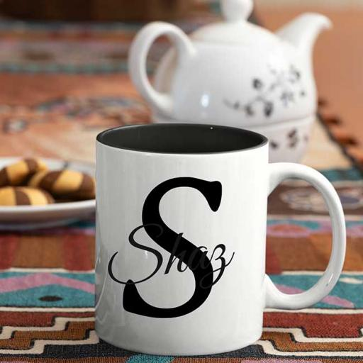 Name and Initial - Personalised Black Coloured Inside and White Handle Mug