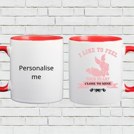 Personalised Colour Inside Mug - 'I Like to Feel Your Heart'