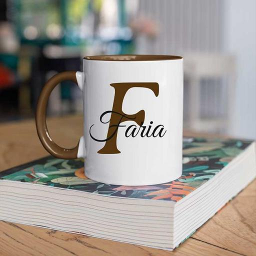 Name and Initial - Personalised Brown Coloured Inside and Handle Mug