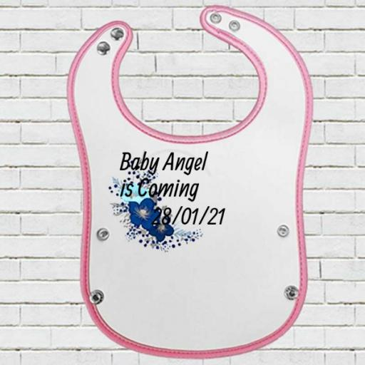 Pink Pocket Baby Bib with Blue Floral Design - Add Name