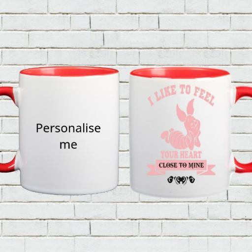 Personalised Heart Love Colour Inside Mug