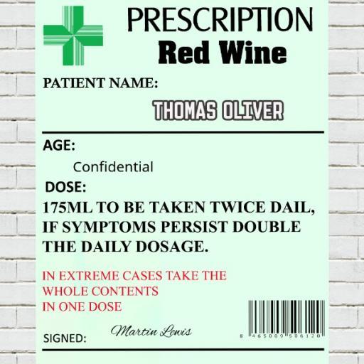 Prescription Red Wine - Personalised Label
