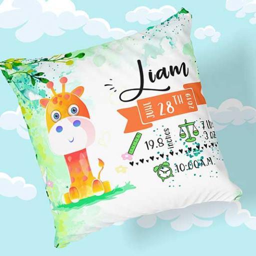 Personalised Newborn Baby Giraffe Design Cushion - Add Name, Date, Time, Weight