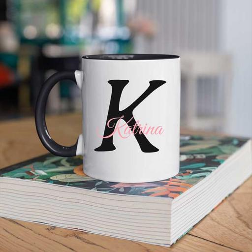 Name and Initial - Personalised Black Coloured Inside and Handle Mug