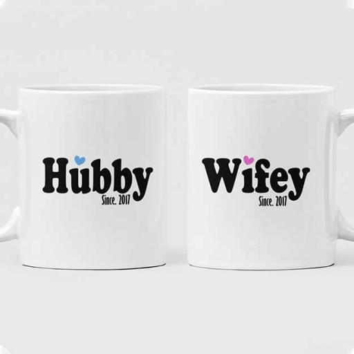 Wifey Hubby Couple Mugs - Personalised Couple Gift Set