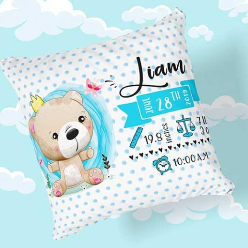 Personalised Newborn Baby Teddy Bear Cushion - Add Name, Date, Time, Weight
