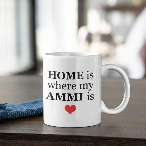 'Home is Where My Ammi is' Desi Style Personalised Mug for Mum
