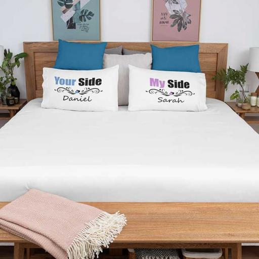 Personalised 'My Side - Your Side' Couple Pillow Gift Set - Add Names