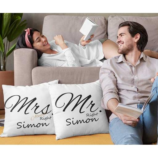Mr Right and Mrs Always Right - Personalised Couple Cushion Covers