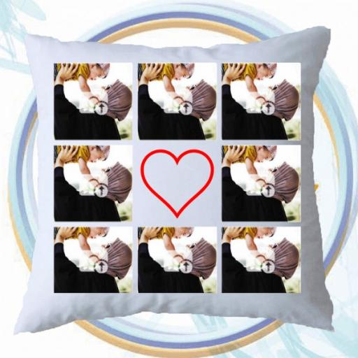 Personalised Multi Photo Collage Cushion - 8 Photos Collage with a Heart