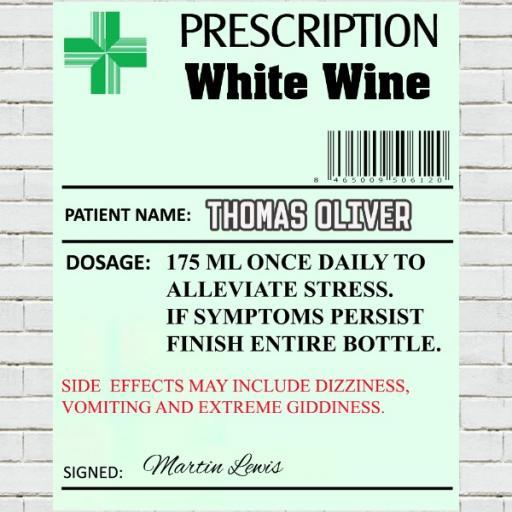 Prescription White Wine - Personalised Label