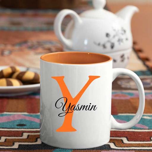 Name and Initial - Personalised Orange Coloured Inside and White Handle Mug