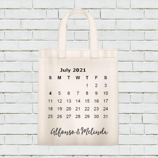 Personalised Calendar Tote Bag - July 2021 - Add Name / Text