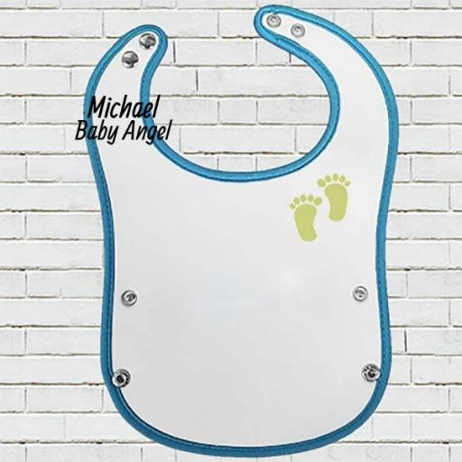 Blue Pocket Baby Bib with 'Angel is Coming' Design - Add Date