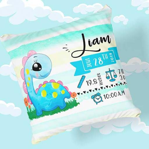 Personalised Newborn Baby Dino Design Cushion - Add Name, Date, Time, Weight