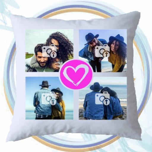 4 Photos Collage Cushion - Pink Heart