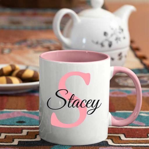 Name and Initial - Personalised Pink Coloured Inside and Handle Mug
