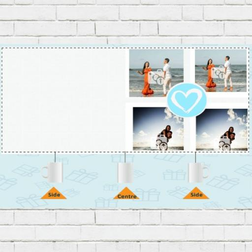 Photo Collage Personalised Mug with Blue Heart - Add Photos & Text