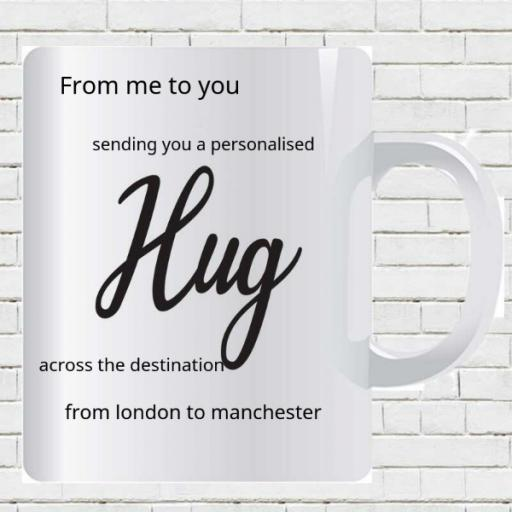Personalised Across Distance Hug Mug - Add Names/Locations/Message